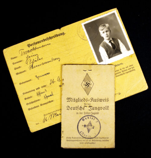 Hitlergeund (HJ) Deutsches Jungvolk (DJ) Mitgliedsausweis + Personenbeschreibung pass