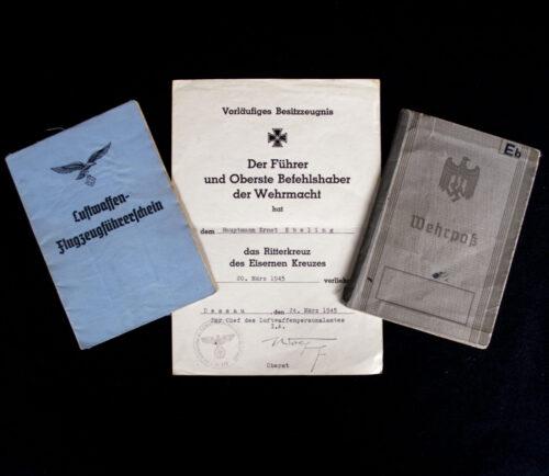 Knightscross recipient Ernst Ebeling Wehrpass + Vorläufiges Besitzzeugnis des Ritterkreuz des Eisernen Kreuzes + Luftwaffen Flugzeugführerschein