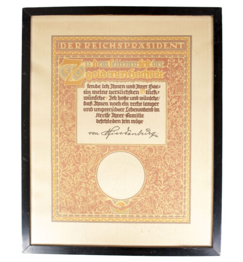 Large framed Goldene Hochzeit citation with Hindenburg signature (53x43 cm)