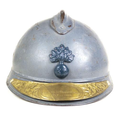 M15 Adrian Helmet with Soldt de la Guerre 1914 - 1918 helmet plate