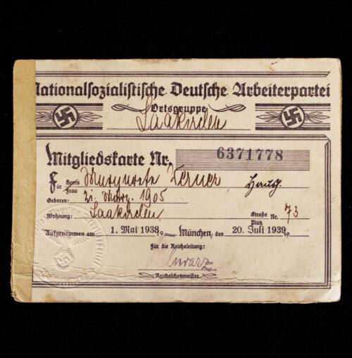 NSDAP Mitgliedskarte 1938 NSDAP membercard from Saakirchen in Austria (1938)