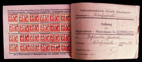NSDAP Mitgliedskarte 1941 NSDAP membercard from Aurolzmünster (Austria) (1941)