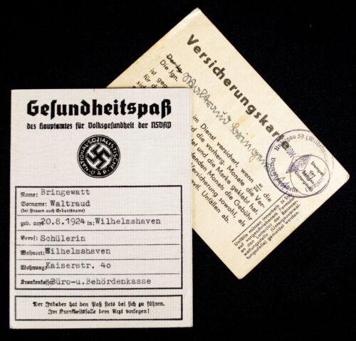 NSDAPHitlerjugend (HJ) Gesundheitspass + Versicherungskarte + paper