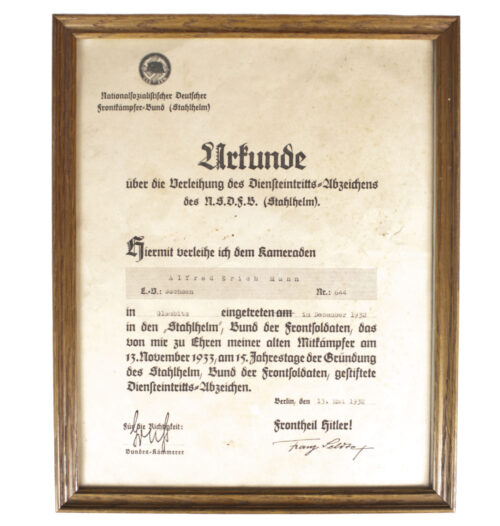 National Sozialistische Deutscher Frontkämpferbund Stahlhelm (N.S.D.F.B.St.) Diensteintrittsurkunde