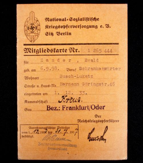 National Sozialistische Kriegsopfer Versorgung (NSKOV) Mitgliedskarte (1937)