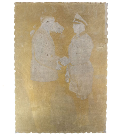 "Original newspaper photo ""Druckplatte"" (printing plate) of Adolf Hitler and Sepp Dietrich"