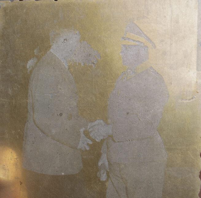 "Original newspaper photo ""Druckplatte"" (printing plate) of Adolf Hitler and Sepp Dietrich"