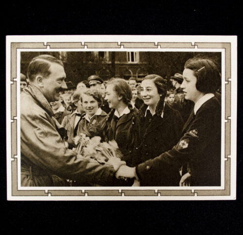 (Postcard) Adolf Hitler with BDM girls (Saar stamp)