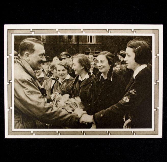 (Postcard) Adolf Hitler with BDM girls (Saar stamp)