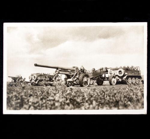 (Postcard) Unsere Wehrmacht Schwere Motorisierte Artillerie auf dem marsch