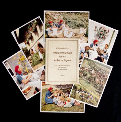 (Postcards) Reicharbeidsdienst für die Weibliche Jugend (RADw) - Sechs Originalfarbenpostkarten aus dem Leben der Arbeitsmaiden