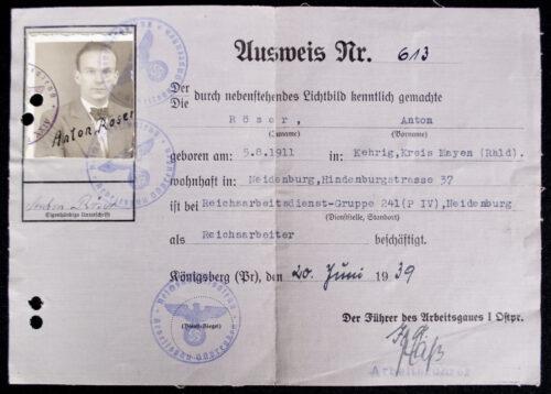 Reichsarbeitsdienst (RAD) Ausweis with passphoto