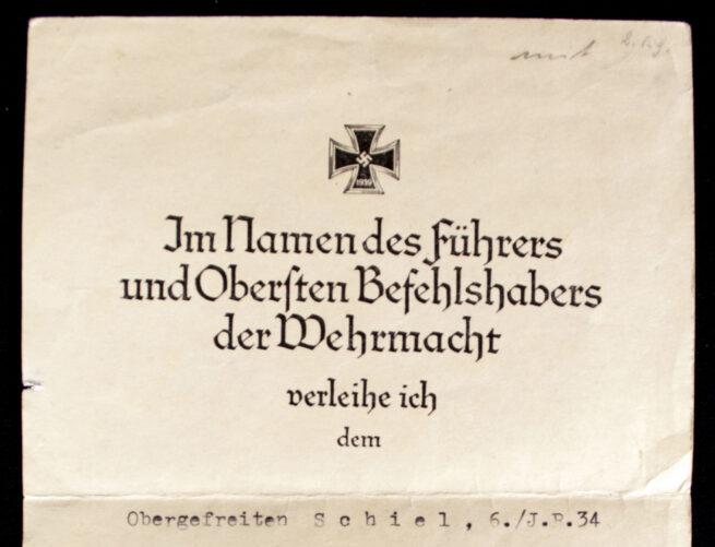 UrkundeCitation for the Eiserne Kreuz 2. Klasse (1941) (With RK-trager signature!)
