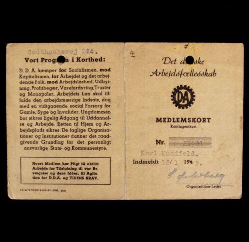 (Denmark) Det danske Arbejdsfællesskab Dänish Labourfront memberpass (1943)