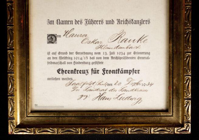 Ehrenkreuz für Frontkämpfer Erinnerungsblatt in originalofficial frame