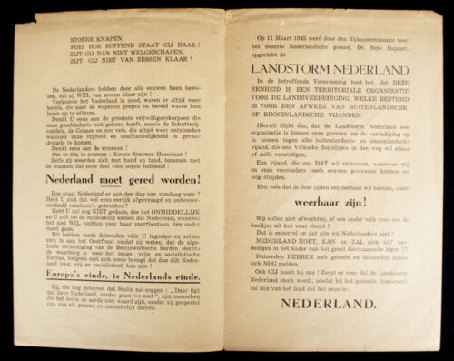SS Landstorm Nederland recruitment flyer (rare!)