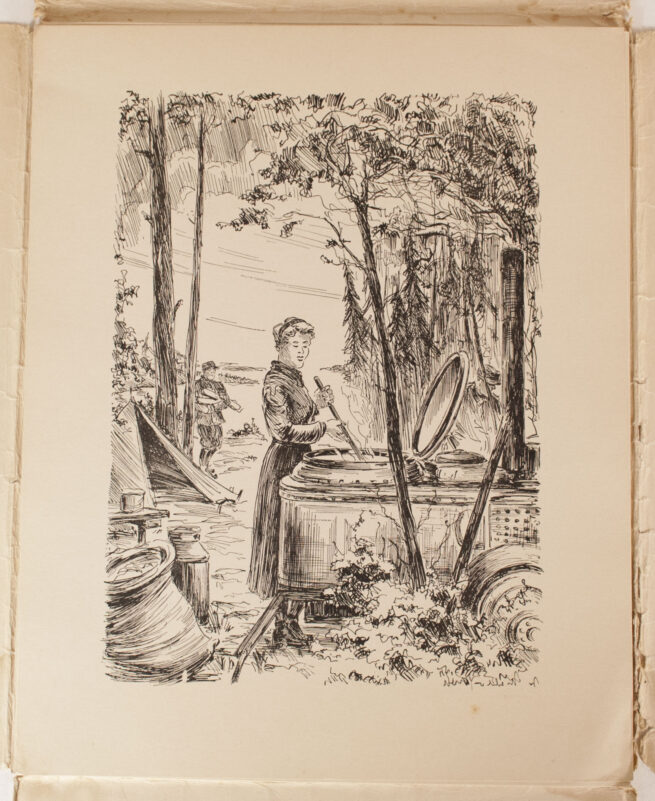 (SS-PK Mappe) Bilder aus Karelien - 8 Federzeichnungen von SS-Sturmmann W. Mahler (1941)