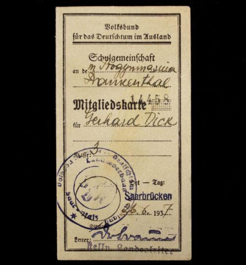(VDA) Volksbund für das Deutschtum im Ausland - Schulgemeinschaft Mitgliedskarte (1937)