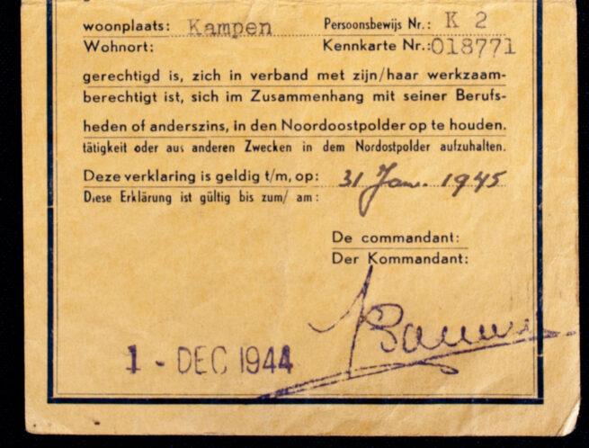 Verklaring - Ausweis: Oponthoud Noordoostpolder 1-12-1944 (Kampen)