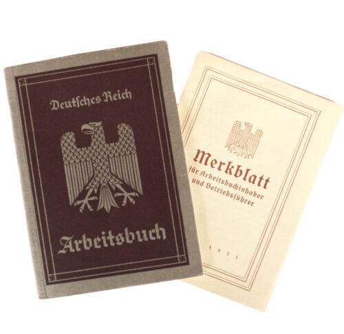 Arbeitsbuch Arbeitsamt Stuttgart + Merkblatt (1935)
