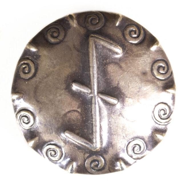 Cultural Brooch Wolfsangel by maker Christian Deininger. Hallmarked 800 silver (RARE!)