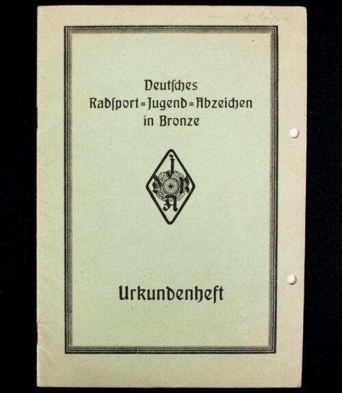 Deutsches Radsport Jugend Abzeichen in Bronze Urkundenheft