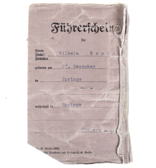 German Fuhrerschein (Drivers Licence) with passphoto from 1934