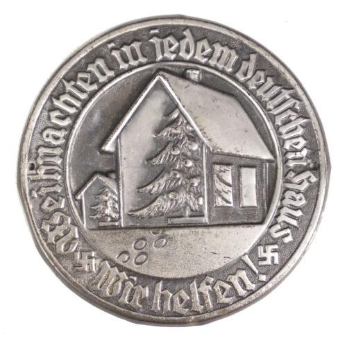 Large metal Türplakette Weihnachten in jedem Deutschen Haus. Wir Helfen! (1933)