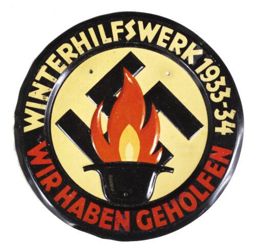 Large metal Türplakette Wir haben Geholfen! Winterhilfswerk 193334.