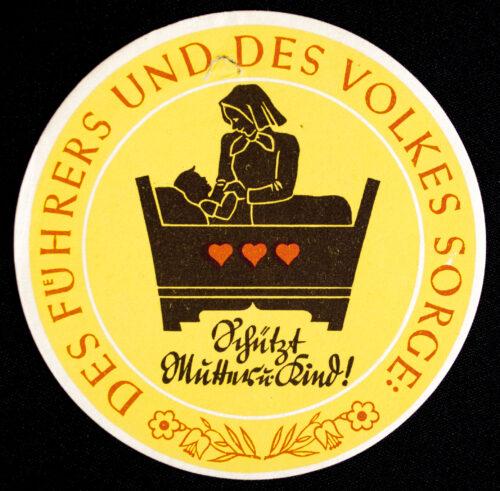 WHW Winterhilfswerk Strassensammlung Türplakette Schützt Mutter und Kind (1933)