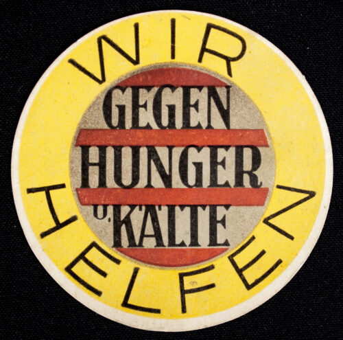 WHW Winterhilfswerk Strassensammlung Türplakette Wir Helfen gegen Hunger und Kälte (1933)