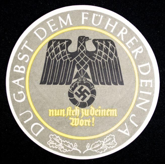 WHW Winterhilfswerk Türplakette Du gabst dem Führer dein Ja! (1934)