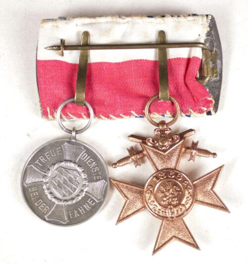 WWI Bavaria medalbar with Militärverdienstkreuz + Dienstauszeichnung 9 Jahre