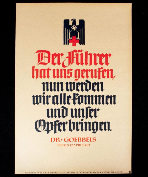WWII German NSDAP Wochenspruch (propaganda miniposter) – Rotes Kreuz (DRK)