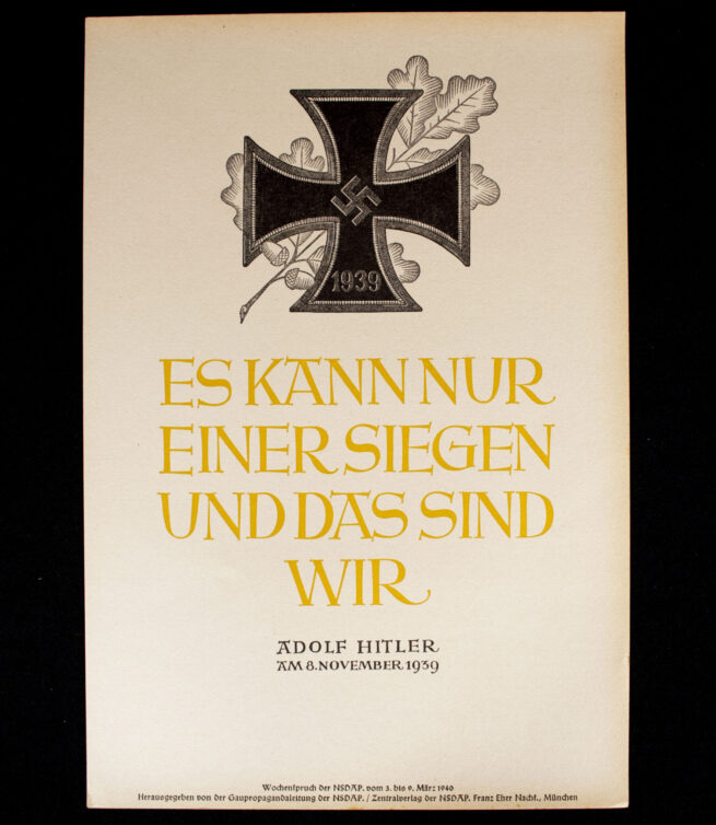 WWII German NSDAP Wochenspruch (propaganda miniposter) - Iron Cross 1940