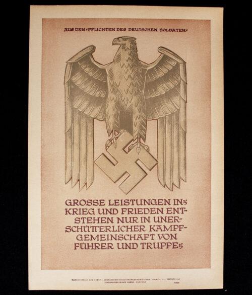 WWII German NSDAP Wochenspruch (propaganda miniposter) Pflichten des Deutschen Soldaten