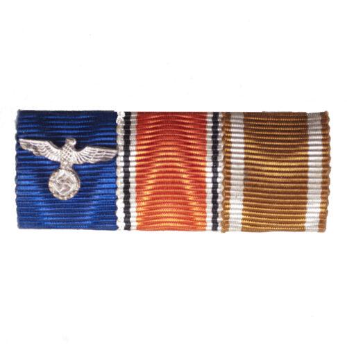 WWII German Wehrmacht (Heer) Ribbonbar with Dienstauszeichnung 4 Jahre + Anschlussmedaille + Westwallmedaille