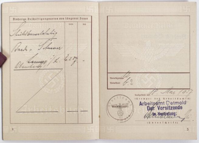Arbeitsbuch - Arbeitsamt Detmold (1937)