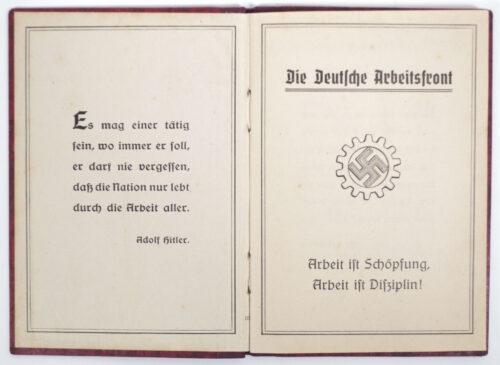 (DAF) Die Deutsche Arbeitsfront Mitgliedsbuch (1940)