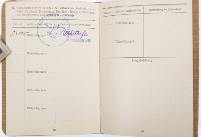 Late war Soldbuch of a member who went to the Volkssturm