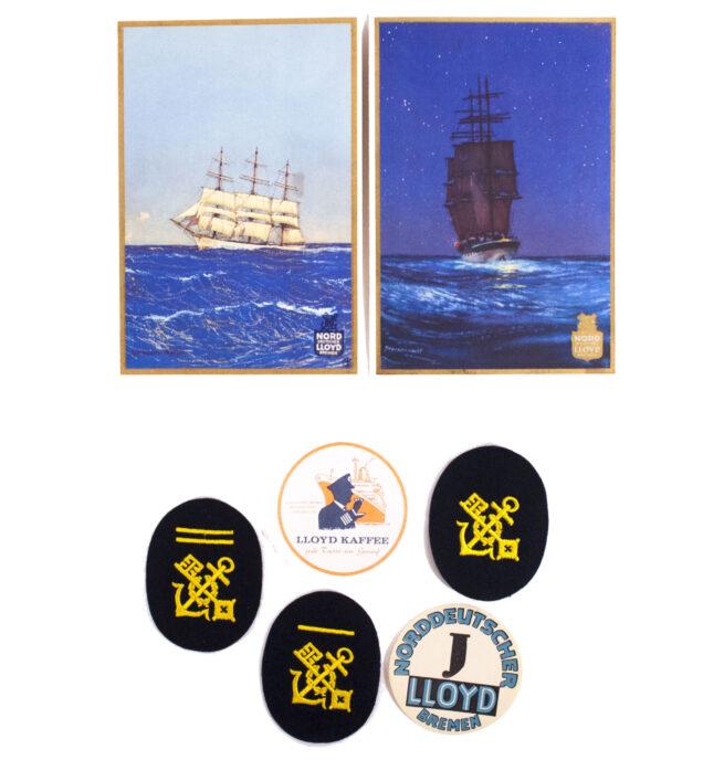 Norddeutscher Lloyd 3 arm badges, 2 Menucards and 2 paper labels