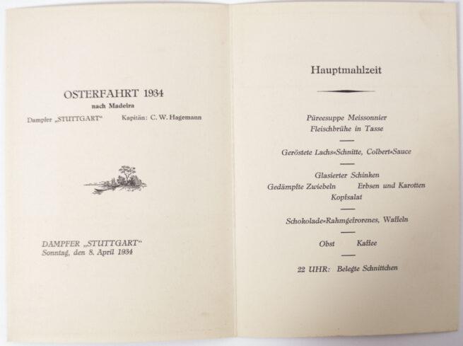 Norddeutscher Lloyd 3 arm badges, 2 Menucards and 2 paper labels (1934)