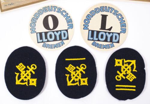 Norddeutscher Lloyd 3 arm badges, 2 Menucards and 2 paper labels (19341935)