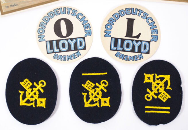 Norddeutscher Lloyd 3 arm badges, 2 Menucards and 2 paper labels (19341935)