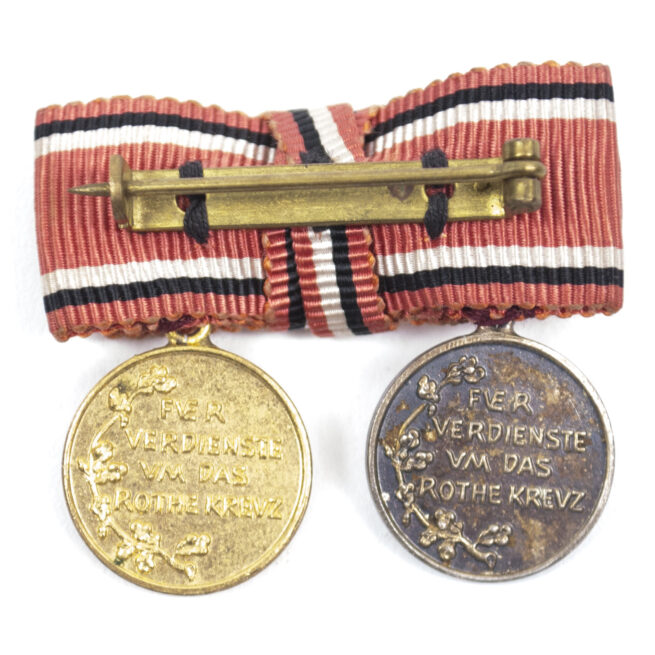 (Prussia) Miniature Red cross medals 3rd and 2nd Class on ribbon