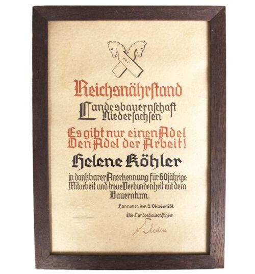 Reichsnährstand Landesbauernschaft Niedersachsen citation (1938)