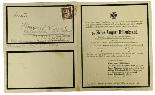 SS Deathcardletter from a Panzer-Grenadier-Regiment Leutnant (1943)