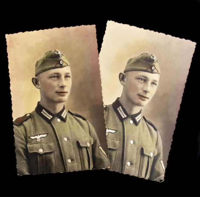 TWO colored postcard sized portraits of a solder from Artillerie Regiment 66