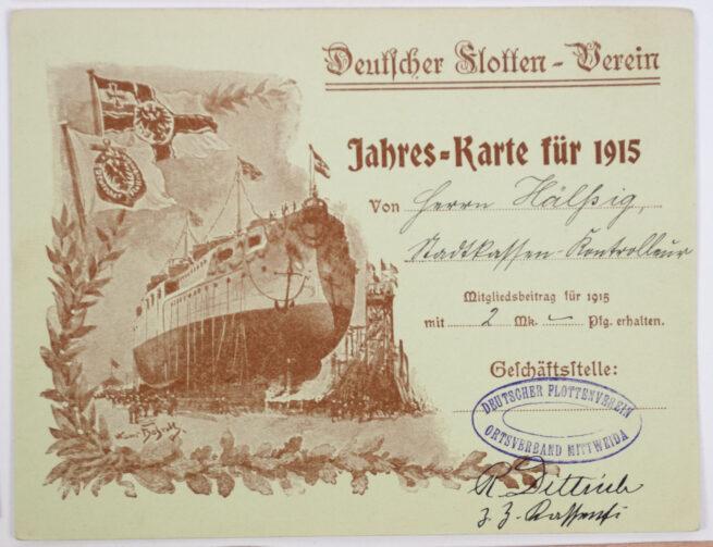 WWI - Deutscher Flotten Verein, Ortsgruppe Mittweida 10 Membercards from 1909 - 1918 (RARE!)