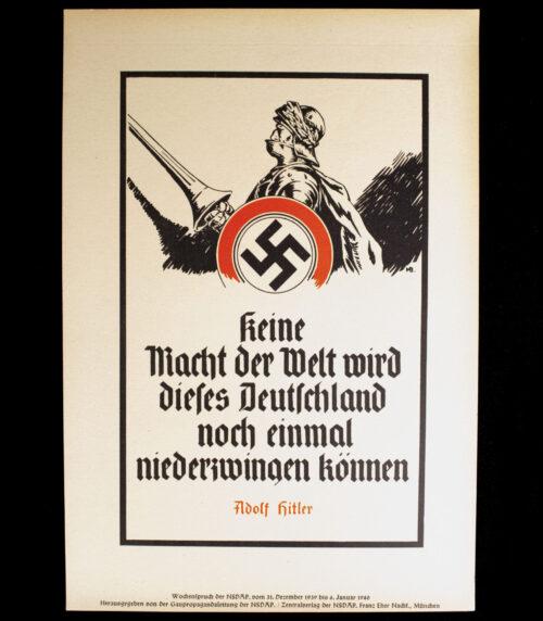 WWII German NSDAP Wochenspruch (propaganda miniposter) (1940)